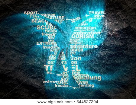 Silhouette Of Diver From Relative Words Cloud. Icon Diver. The Concept Of Sport Diving. Neon Bulb Il