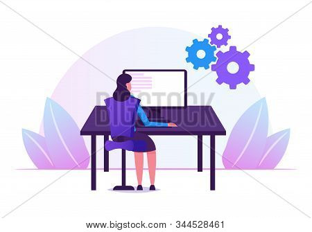 Female Programmer Working With Devops Software Development Practices Methodology. Young Woman Develo