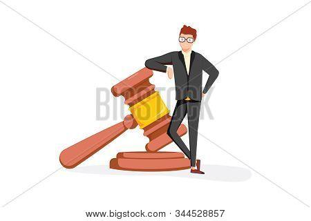 Business Lawyer Holding Wooden Judge Gavel. Legal Verdict, Legislation Authority Vector Concept. Leg