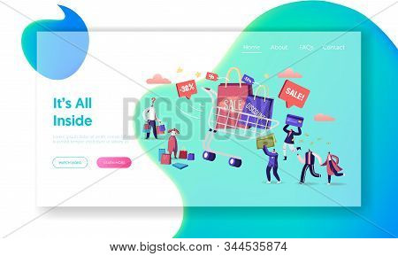 Shopaholic At Store Sale Website Landing Page. Happy People Shopping Recreation. Male And Female Cha
