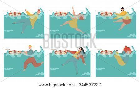A Collection Of People Drowning In The Sea. Men And Women Are Fighting For Their Lives. Emergency Du