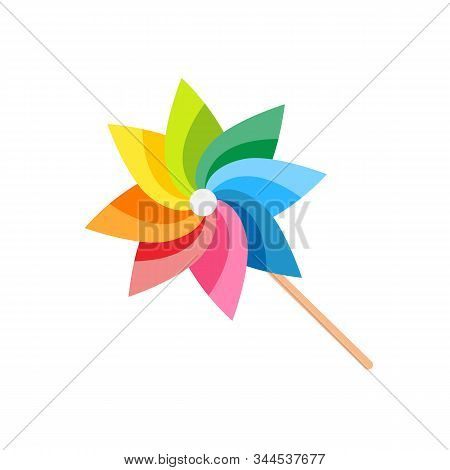 Pinwheel Isolated On White Background. Pinwheel Toy Child Game Icon. Vector Stock