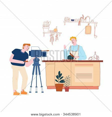Male Character Video Blogger Or Tv Anchorman In Chef Apron Recording Video Of Healthy Cooking On Cam