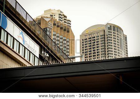 Sydney, Australia - December 29, 2019: Two Famous Hotel Chains In Australia, Four Season And Shangri