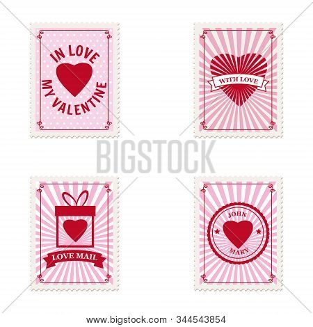 Set Valentine S Day Postage Stamps, Collection For Postcard, Mail Envelope. Hearts, Retro, Vintage,