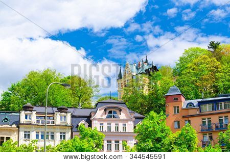 Colorful Beautiful Traditional Buildings In Karlovy Vary (carlsbad) Historical City Centre , Blue Sk