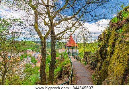 Mayer Gloriette Wooden Gazebo At Deer Jump Jeleni Skok Lookout With Top Aerial View Of Karlovy Vary