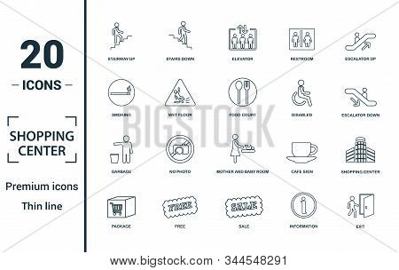 Shopping Center Icons Icon Set. Include Creative Elements Stairway Up, Elevator, Smoking, Disabled,