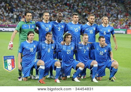 Italy National Football Team Pose For A Group Photo