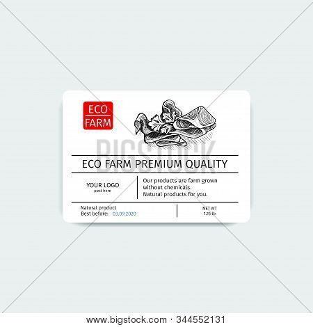 Corporate Identity For A Butcher Shop. Sticker For Boxing Natural Products. Packaging For Maet Box.