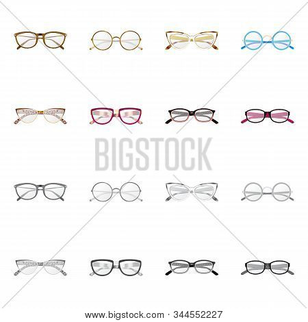 Vector Illustration Of Glasses And Frame Logo. Collection Of Glasses And Accessory Vector Icon For S