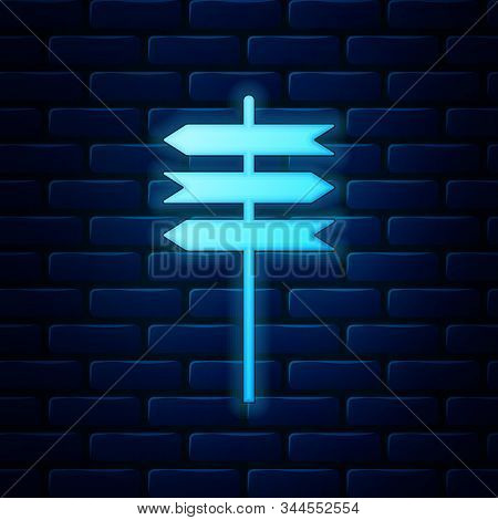 Glowing Neon Road Traffic Sign. Signpost Icon Isolated On Brick Wall Background. Pointer Symbol. Bla