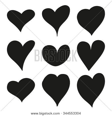 Set Of Black Hand Drawn Hearts. Vector Collection Of Hearts For Valentines Day Sweethearts.