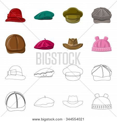 Isolated Object Of Headgear And Cap Icon. Collection Of Headgear And Accessory Vector Icon For Stock