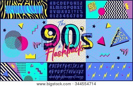 90s Poster. Nineties Flashback. Retro Style Textures And Alphabet Mix. Aesthetic Fashion Background