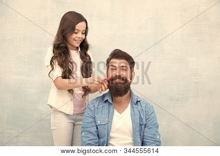 Child Making Hairstyle Styling Father Beard. Being Parent Means Present For Kid Interests. Change Ha