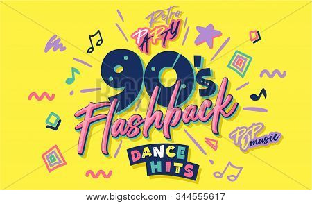 90s Poster. Nineties Flashback. Retro Music Style Textures And Objects Mix. Aesthetic Fashion Backgr