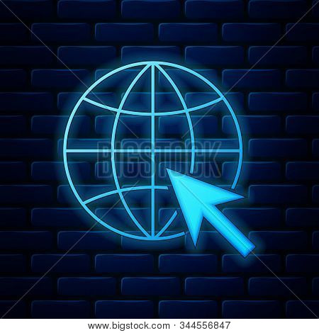 Glowing Neon Go To Web Icon Isolated On Brick Wall Background. Globe And Cursor. Website Pictogram.