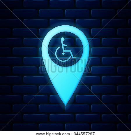 Glowing Neon Disabled Handicap In Map Pointer Icon Isolated On Brick Wall Background. Invalid Symbol