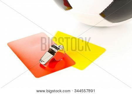 Soccer Sports Referee Yellow And Red Cards And Whistle With Soccer Ball On White Background - Penalt