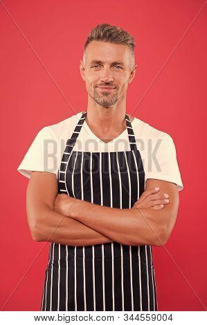 Barista Handsome Worker. Man Cook Wear Apron. Fast Food Restaurant. Mature Barista. Restaurant Staff
