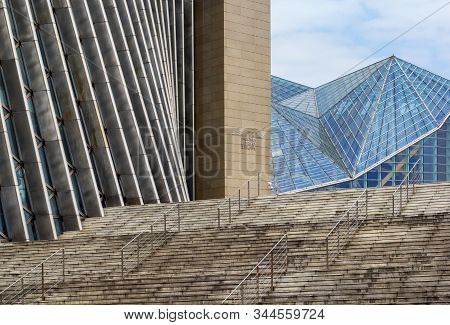 Shenzhen, China - November 24 2018: The Exterior Structure Of The Music And Library Hall In The Shen