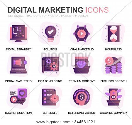 Modern Set Business And Marketing Gradient Flat Icons For Website And Mobile Apps. Contains Such Ico