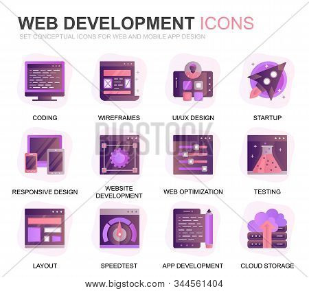 Modern Set Web Disign And Development Gradient Flat Icons For Website And Mobile Apps. Contains Such