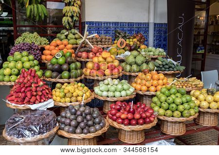 Funchal, Madeira, Portugal - April 23, 2018: Mercado Dos Lavradores Fruit And Vegetable Market In Fu