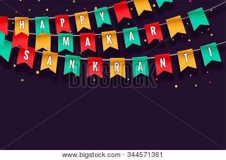 Happy Makar Sankranti Celebration Flags Background Design