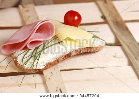 Open Sandwich With Ham And Cheese