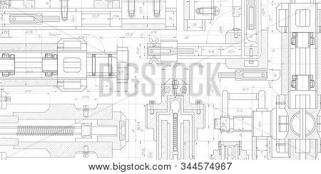 Technology Blueprint .engineering Plan Scheme .mechanical Engineering Drawing .computer Aided Design