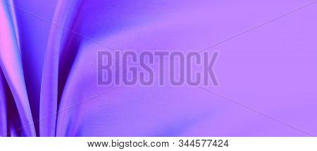 Purple Satin Background. Silk Fabric With Pleats. Satin, Silk Or Satin Creates A Beautiful Drape. Fa