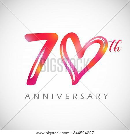 70 Years Old Logotype. 70 Th Anniversary Numbers. Decorative Symbol. Congrats In Brushing Style. Iso