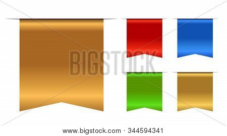 Bookmarks Banner 3d Set. Gold, Red, Blue, Green Book Mark, Isolated On White Background. Color Golde