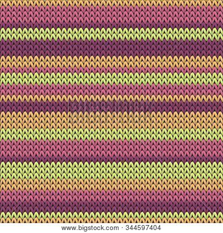 Woolen Horizontal Stripes Christmas Knit Geometric Vector Seamless. Scarf Hosiery Textile Print. Tra