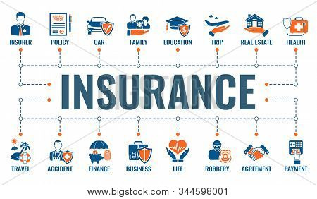 Insurance Services Horizontal Banner With Two Color Flat Icons Family, Real Estate, Medical, Travel