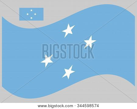 Wave Federated States Of Micronesia Flag Vector Illustration Eps 10.