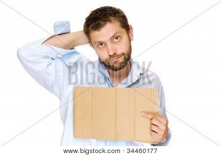 Fired businessman with messy cardboard frame. Isolated on white poster