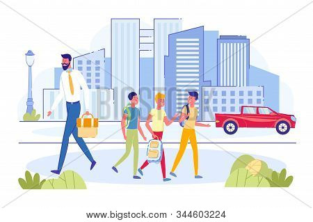 Group Of Teens Boys With Backpack Walking On Sidewalk Together To Or From School And Talking. Busy B