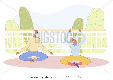 Senior Married Couple Doing Yoga At Home Open Terrace. Old Pair Relaxing While Sitting In Lotus Pose