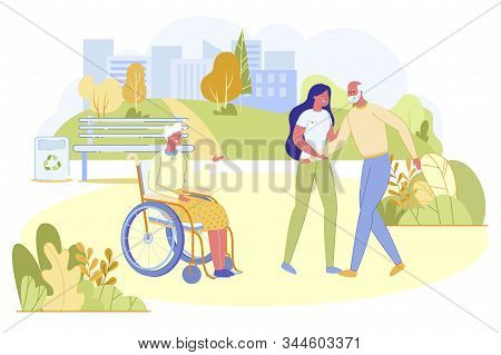 Senior Man Visiting Disabled Wife Or Friend In Nursing House. Handicapped Aged Woman Sitting In Whee