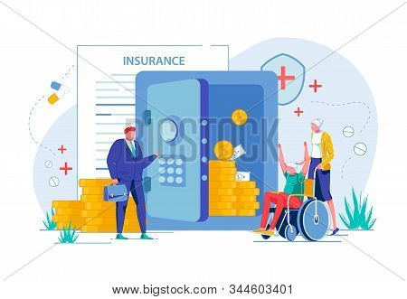 Elderly People Or Senior Couple Getting Money Compensation Recovery By Medical Healthcare Insurance