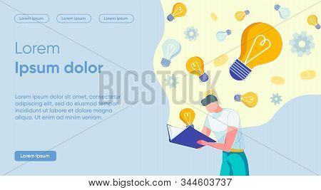 Vector Search For Successful Ideas In Literature. Man In Casual Clothes Bending Over Book. Gears And