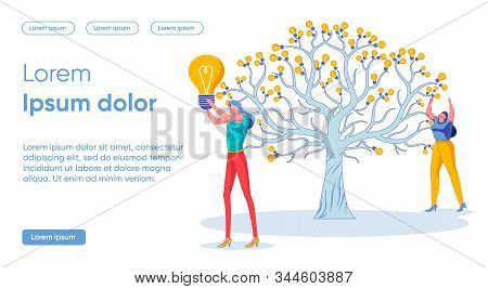 Flat Banner Harvesting Successful Idea Concept. Large Tree Grows In Center, Instead Fruits, Luminous