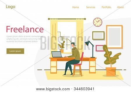 Freelance, Remote Work And Outsourcing Staff With Man Cartoon Character Working Distance On Laptop A
