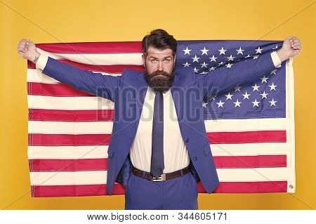 Give Me Liberty Or Give Me Death. Patriotic Businessman Celebrating American Liberty On Independence
