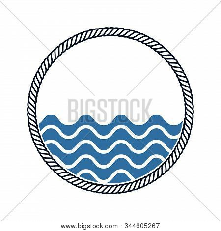 Circle Rope Frame With Waves Inside -endless Rope Loop Isolated On White, Including Clipping Path.
