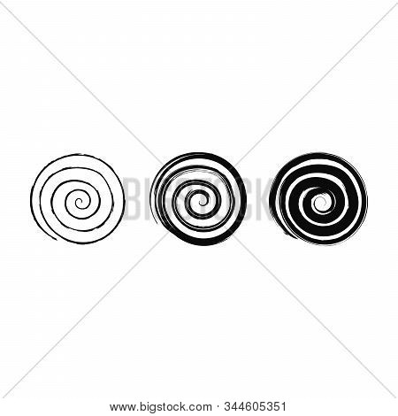 Vector Grunge Organic Ink Textured Spiral Elements Set . Abstract Swirl Motion Brush Stroke. Overlay