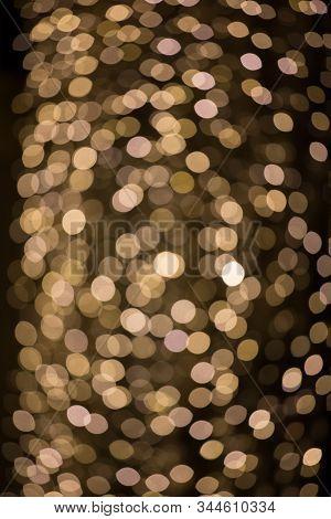 Darkness, Yellow Light Spots, Bokeh Of Orangy Christmas Ornament Lights